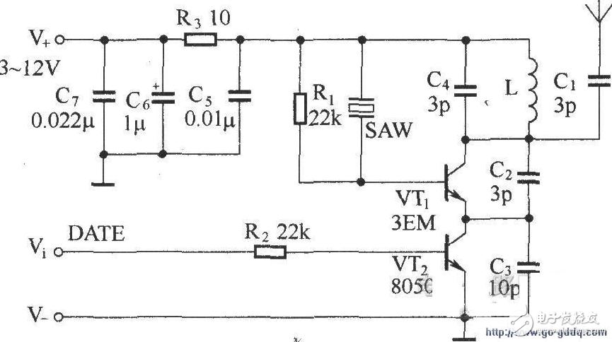 SAW谐振频率的超高频发射模块