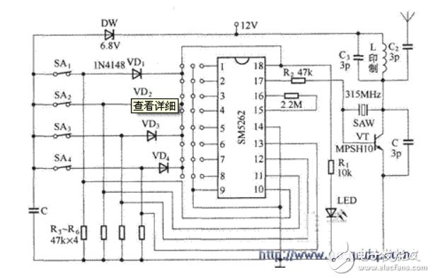 SM5262数字编码器的遥控发射电路