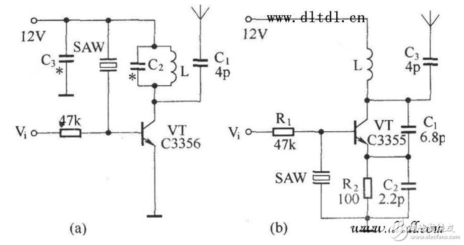 两种晶体管超高频无线电发射基本电路