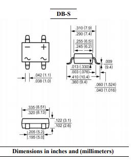 DB301S单相表面贴装桥整流器的详细数据手册资料概述
