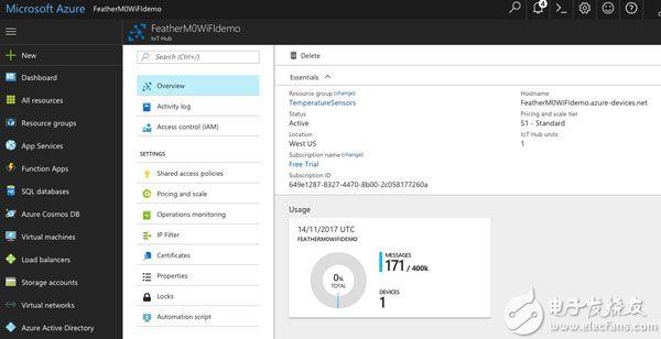 显示消息总结的 Microsoft Azure IoT 中心的图片(点击可放大)