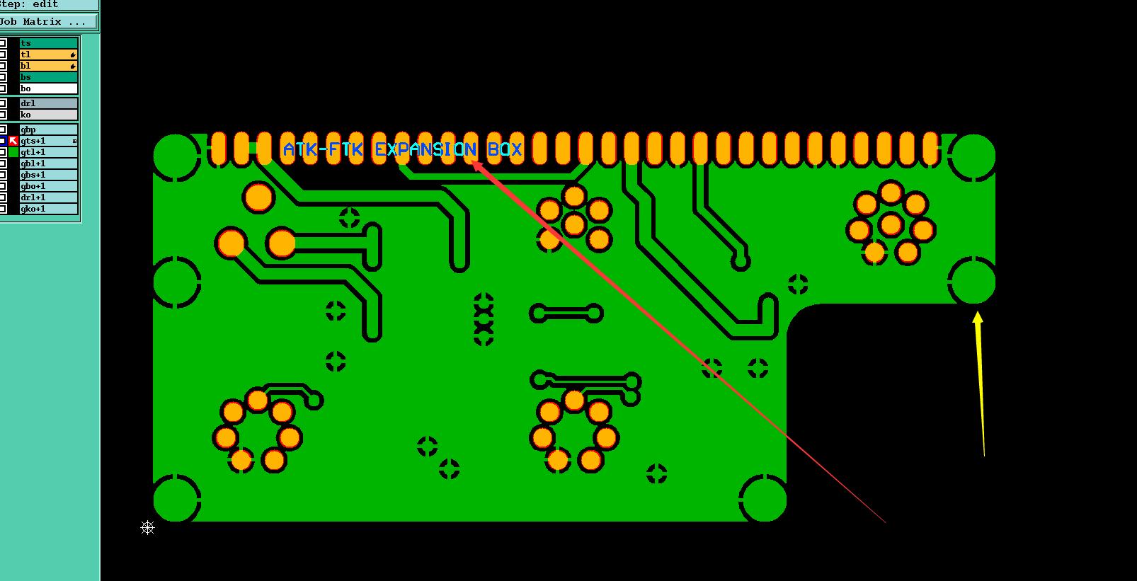 料号名称放错位置,与焊盘冲突造成短路示意图1