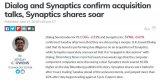 Synaptics或将寻求与Dialog合并,减...