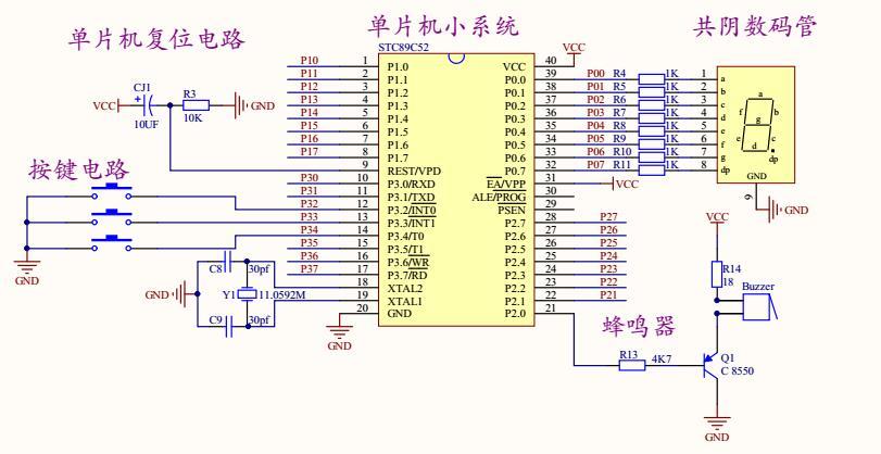 指纹识别及数码管显示电路