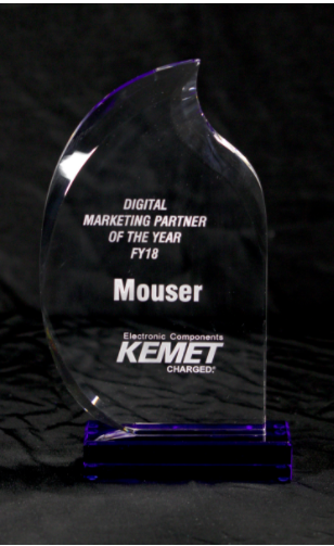 贸泽荣获KEMET年度全球数字营销合作伙伴奖