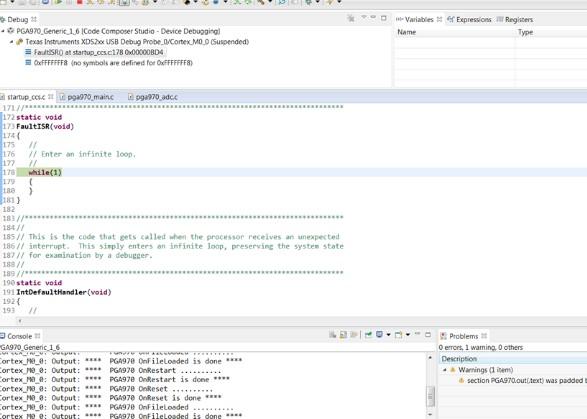 关于运用CCS7.0仿真PGA970无法跳出FaultISR()中断解决方案