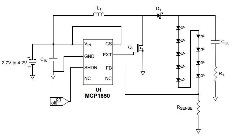 AN948中文手册之利用MCP1650为九个白光LED高效供电