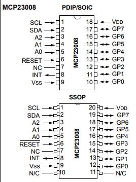 基于MCP23008/MCP23S08带有串行接口的 8 位 I/O 扩展器