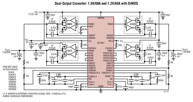 具准确均流功能的多相同步降压型开关稳压控制器LTC7851/LTC7851-1