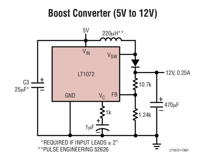 一款单片式高功率开关稳压器LT1072