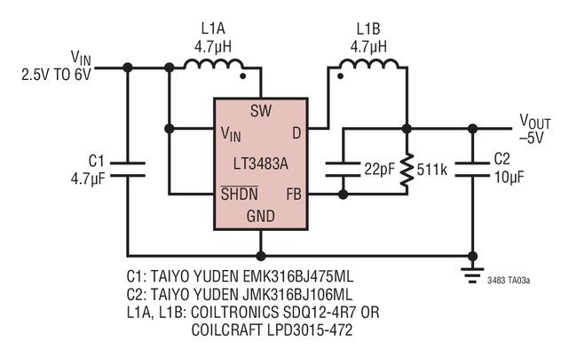 内置肖特基二极管的负输出微功率DC/DC转换器L...