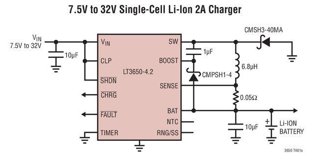 完整的单片式、锂离子/锂聚合物电池充电器LT3650