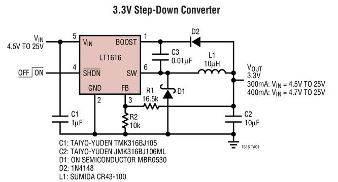 采用SOT-23封装的降压型开关稳压器LT1616