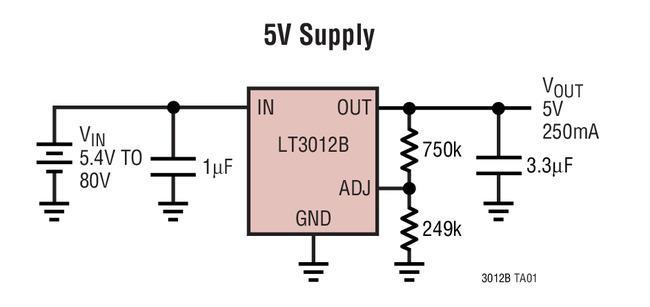 250mA、4V至80V低压差微功率稳压器LT®3012B