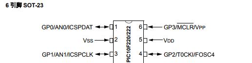 基于PIC10F220/222下的6 引脚 8 位闪存单片机