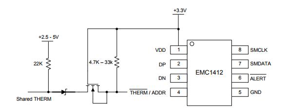 基于EMC1412带 β 补偿的多通道 1°C 温度传感器