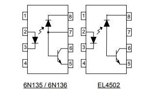 6N135、6N136和EL4502晶体管光电耦合器的详细资料概述
