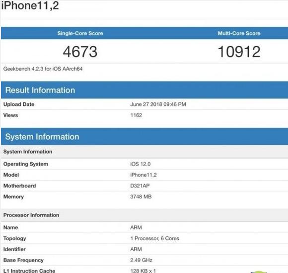 苹果A12处理器跑分曝光,比A11更快