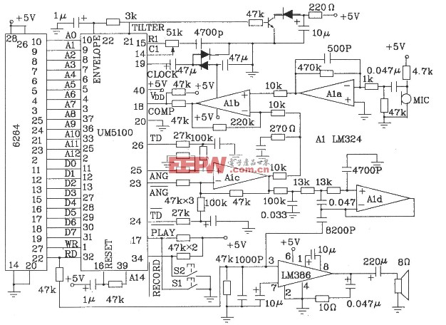 UM5100系列语音合成芯片特点及电路