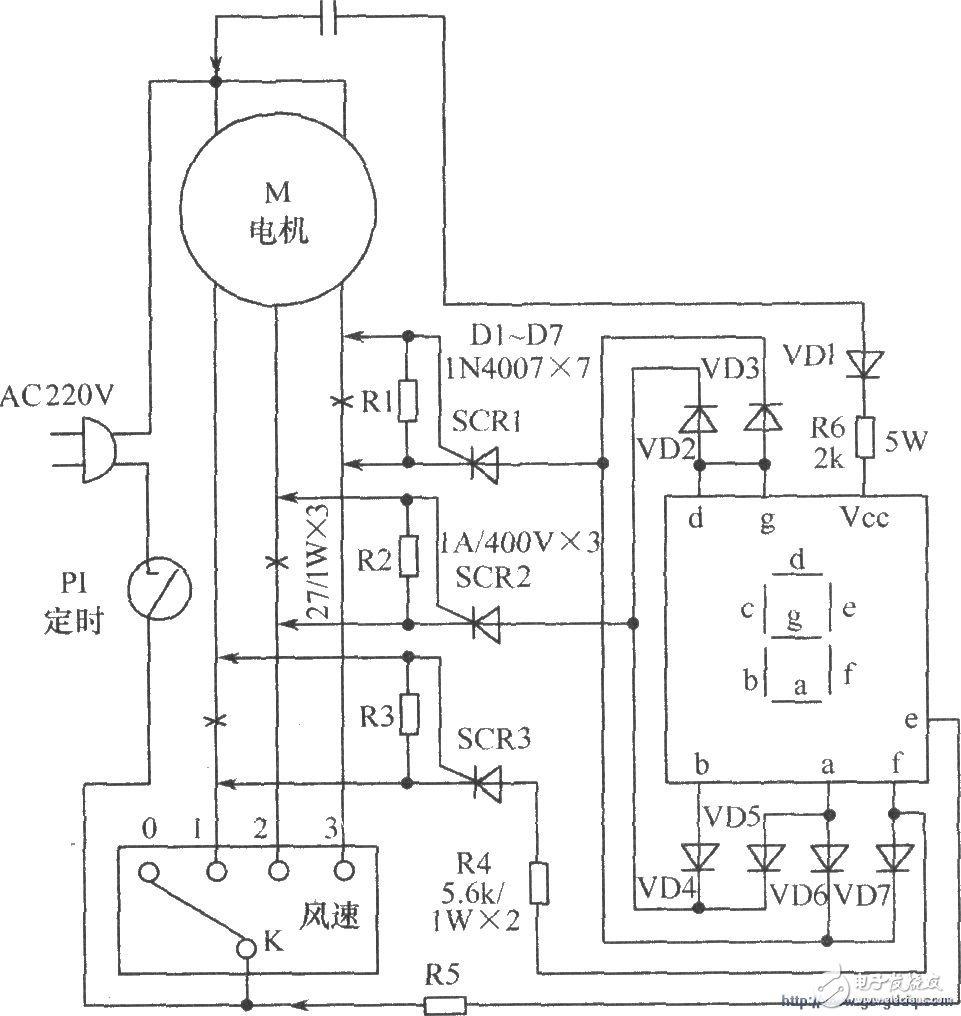 让电风扇风速挡位清晰显示的LED数码显示电路