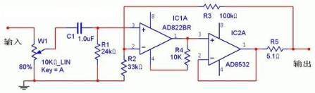 AD822和AD8532组成随身功放耳机放大器的驱动电路