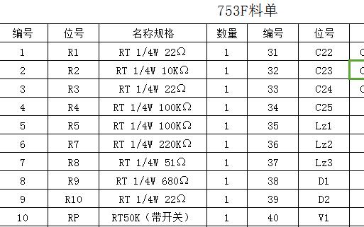 753F收音机设计需要的物料表