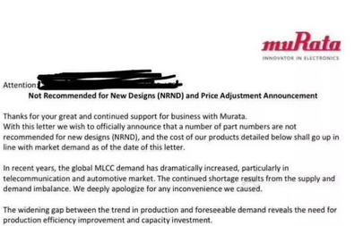 电容老大哥村田:MLCC将于下周涨价 幅度在50-500%之...
