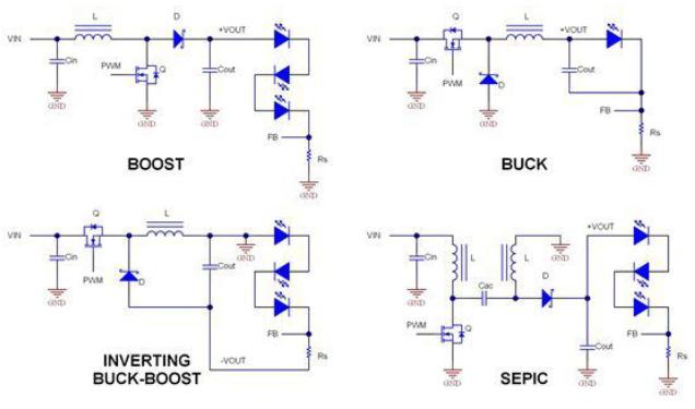 给LED供电的选择有哪些方法?一些拓扑结构都分别代表什么意思呢?