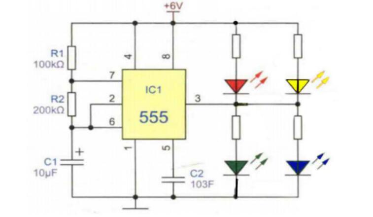 ne555双色闪光灯电路