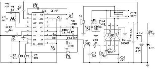 cd9088电路原理及调试方法 基于CD9088的收音机电路图