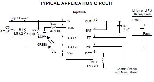 750mA锂离子电池充电管理芯片BQ24085/6/7/8的数据手册免费下载