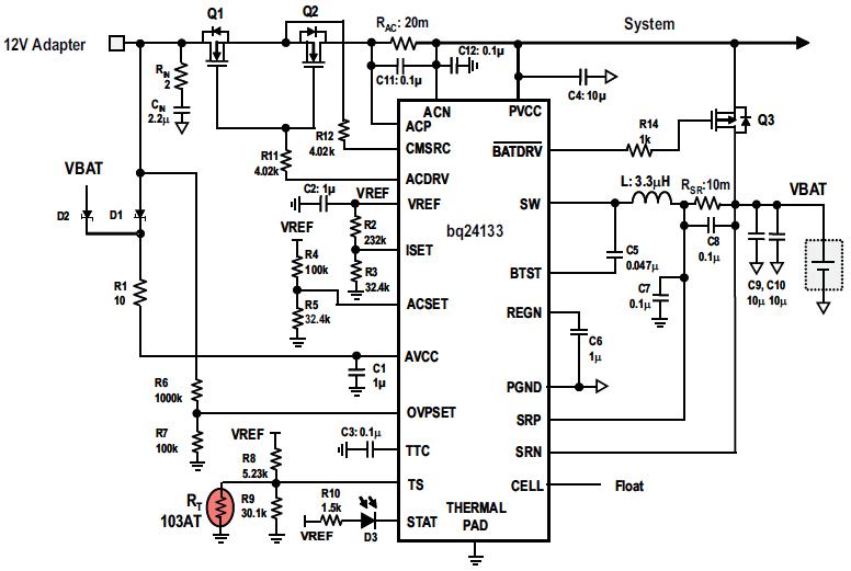 高度集成的独立锂离子电池和锂聚合物开关电池充电器BQ24133数据手册