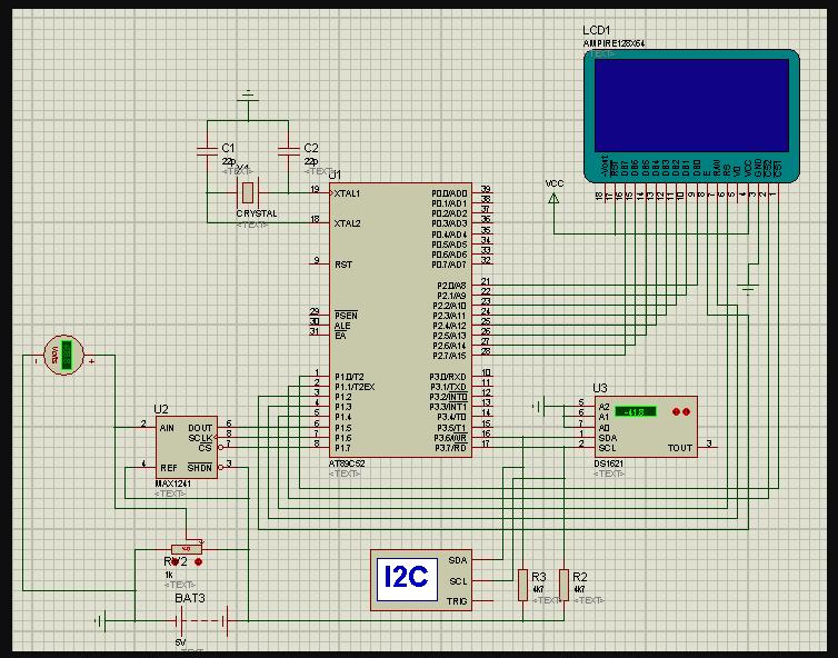 12位AD DS1621与12864液晶的单片机程序概述