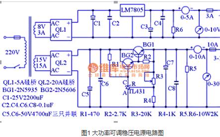 大功率可调稳压电源电路图的详细资料免费下载