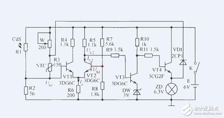 路,当用火给热敏电阻Rt加温时,其阻值迅速减小,Q4集电极电压降低--Q3基极电压降低--Q3集电极电压升高--Q4基极电压也升高--Q4集电极电压进一步降低电路发生翻转,Q3截止,Q4饱和,Q4集电极输出低电平使Q5饱和导通,LED得电发光,同时音乐IC也得电开始演奏祝你生日快乐乐曲;   2.