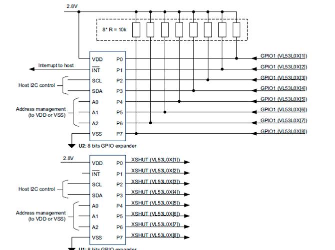 如何在单一设计中使用多个VL53L0X