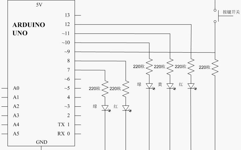 交通信号灯制造所需元件和电路原理图接线图及输入代码和代码分析概述