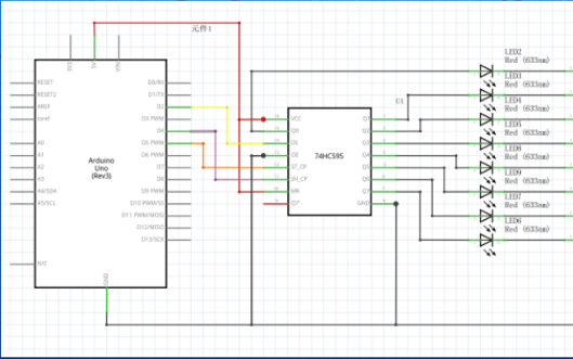 如何使用74HC595来控制8个LED小灯的详细资料概述