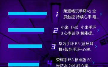 荣耀畅玩手环A2荣登京东智能手环单品销售排行榜宝...