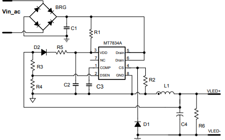 MT7834A高功率因数、非隔离LED驱动芯片详细中文数据手册免费下载