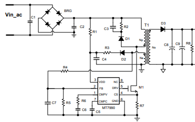 MT7990隔离反激式恒压开关电源控制器的详细中文数据手册免费下载
