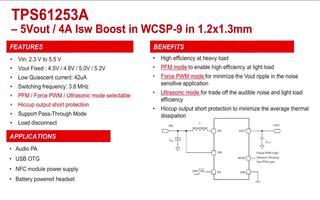 升壓電源芯片TPS61253A三種工作模式PW...