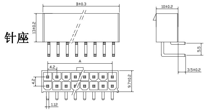 基于55569线对板连接器下的 4.2mm 弯针