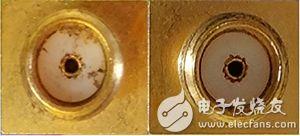 SMA 连接器的图片,左侧为污物和金属屑积聚在电介质上,右侧为经过清洁后