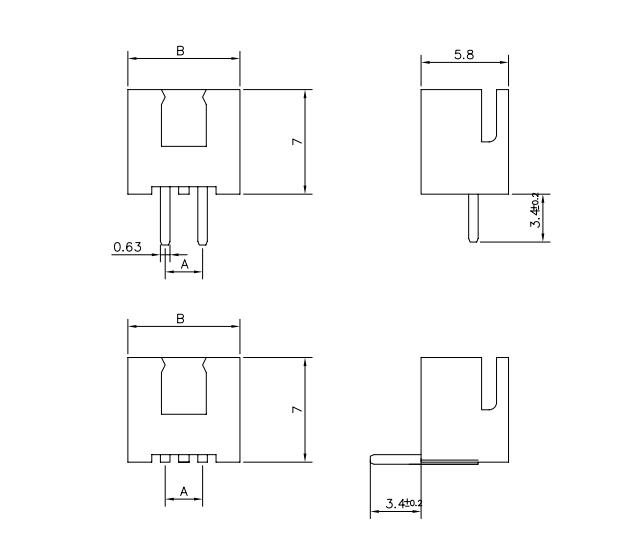 基于XH下的 条形连接器2.54mm