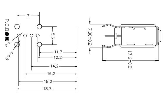 基于USB侧插外壳下的长体卷边弯脚7.0