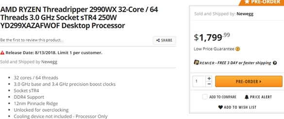 AMD第二代锐龙线程撕裂者处理器在美开启预购,售价约合人民币1.23万元
