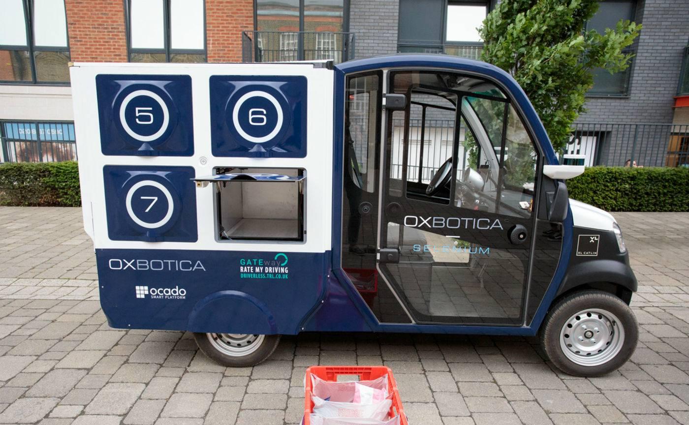 世界上第一辆专送食品杂货的无人驾驶货车长什么样?