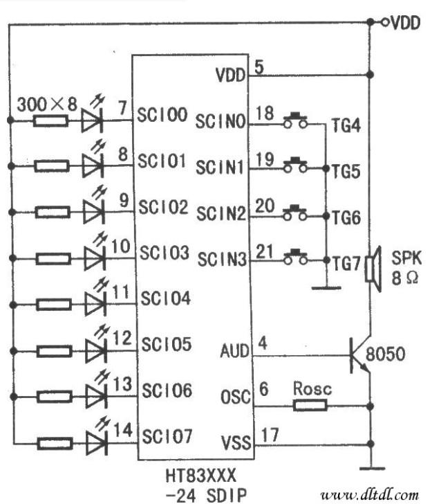自适应脉冲编码HT83XXX、HT82013系列典型应用电路介绍