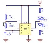 如何用555定时器设计一个闪光电路?